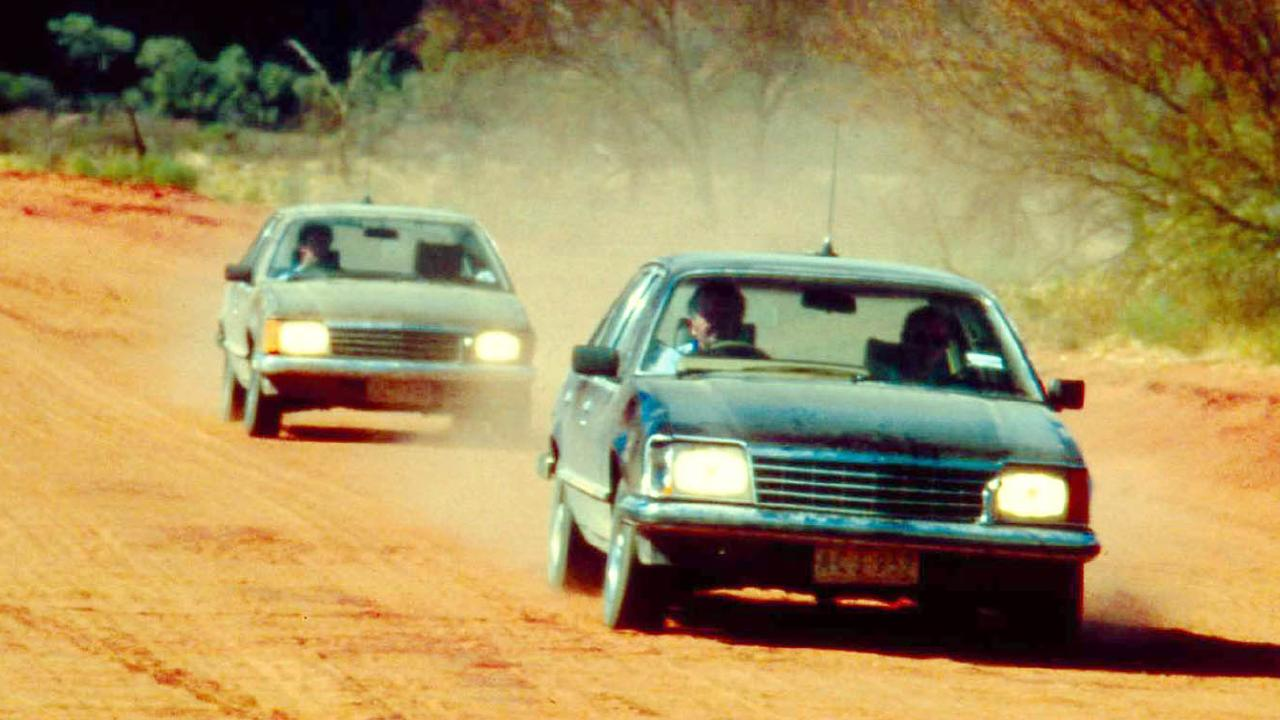 Holden Commodore testing near Uluru in 1978. Picture: Supplied.