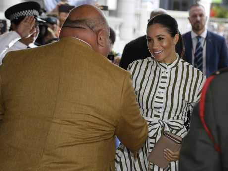 Meghan, Duchess of Sussex is welcomed to St George Government Building in Nuku'alofa, Tonga.
