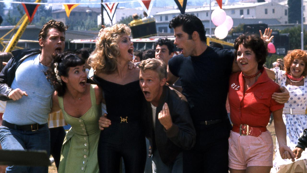 Jeff Conaway, Olivia Newton-John, John Travolta and Stockard Channing in Grease.