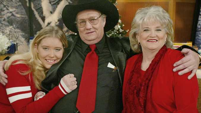 Powerball winner Jack Whittaker, wife Jewell and their granddaughter Brandi Bragg pose for a photograph after being interviewed on NBC's Today Show in New York, December 2002. Picture: Stuart Ramson/AP
