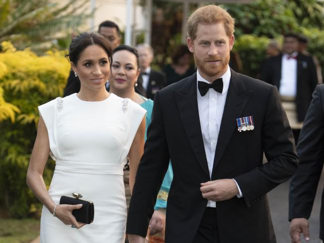 Prince Harry and Meghan arrive a state dinner in Nuku'alofa, Tonga. Picture: Paul Edwards — Pool/Getty Images