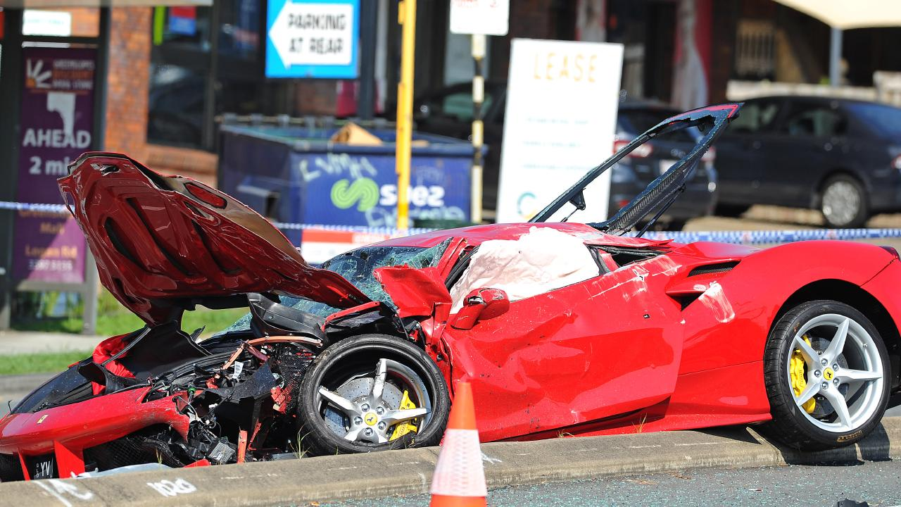 A Ferrari has collided with a Toyota on Logan road in Greenslopes. Friday October 26, 2018. (AAP image, John Gass)
