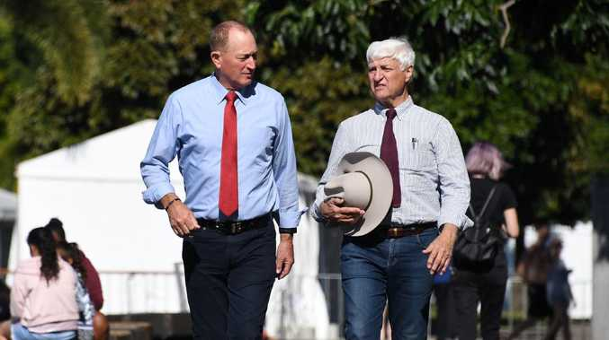 Fraser Anning and Bob Katter. Picture: Brian Cassey