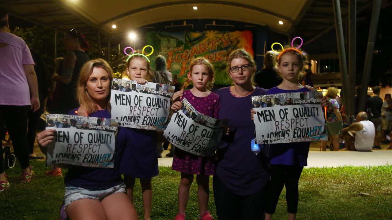 Rose McRory and Alisha Lyngcoln bought their daughters Luna McRory, 5, Stella Lyngcoln, 4, and Lila Bordugenko, 7, along to to the rally. PICTURE: BRENDAN RADKE