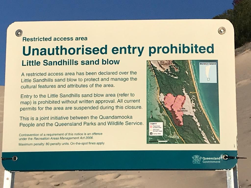 The sign at Little Sandhills on Moreton Island.