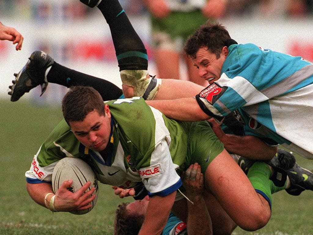 Anthony Seibold in action from the Raiders against the Sharks in 1998. Picture: Ray Strange