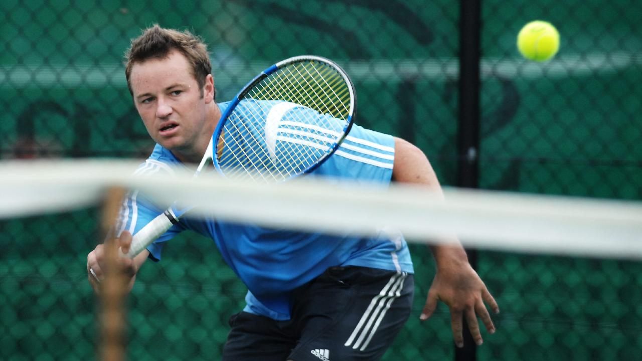 Todd Reid plays his first match at the 2008 APS Manly Seaside Tennis Championship at the Manly Lawn Tennis Centre.