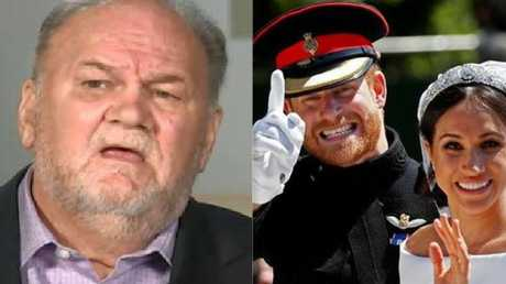 Thomas Markle, left, and Prince Harry and Meghan on their wedding day. Picture: Supplied