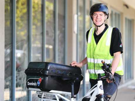 Levi Johns is a pizza delivery rider for Domino's Pizza.