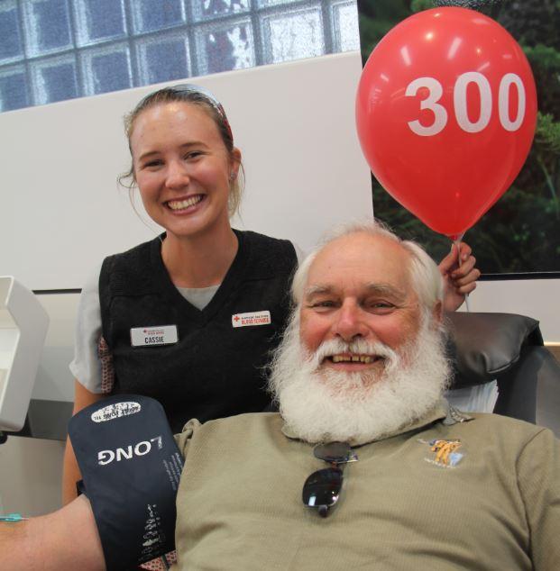 Toowoomba man Geoff Kapernick made his 300th donation yesterday.