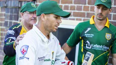 Dave Warner walks off the pitch after being caught at Pratten Park, Ashfeld. Picture: Jenny Evans