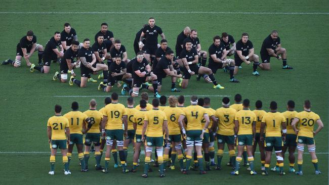The Wallabies look on as the All Blacks perform the haka before Saturday's Bledisloe Cup Test in Yokohama. Picture: Matt Roberts/Getty Images