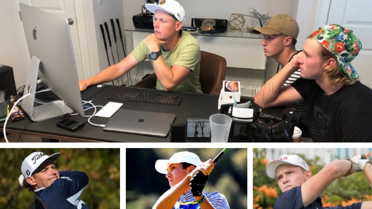 PGA Tour golfer Cameron Smith with rising stars Louis Dobbelaar and Jed Morgan.