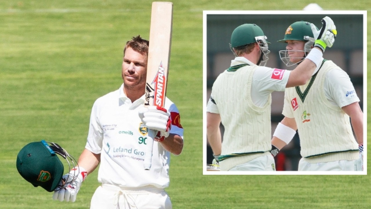David Warner celebrates his century and (inset) embraces Phil Hughes during a Test.