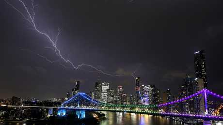 Lightning pictured over Brisbane City, Brisbane 25th of October 2018. (AAP Image/Josh Woning)