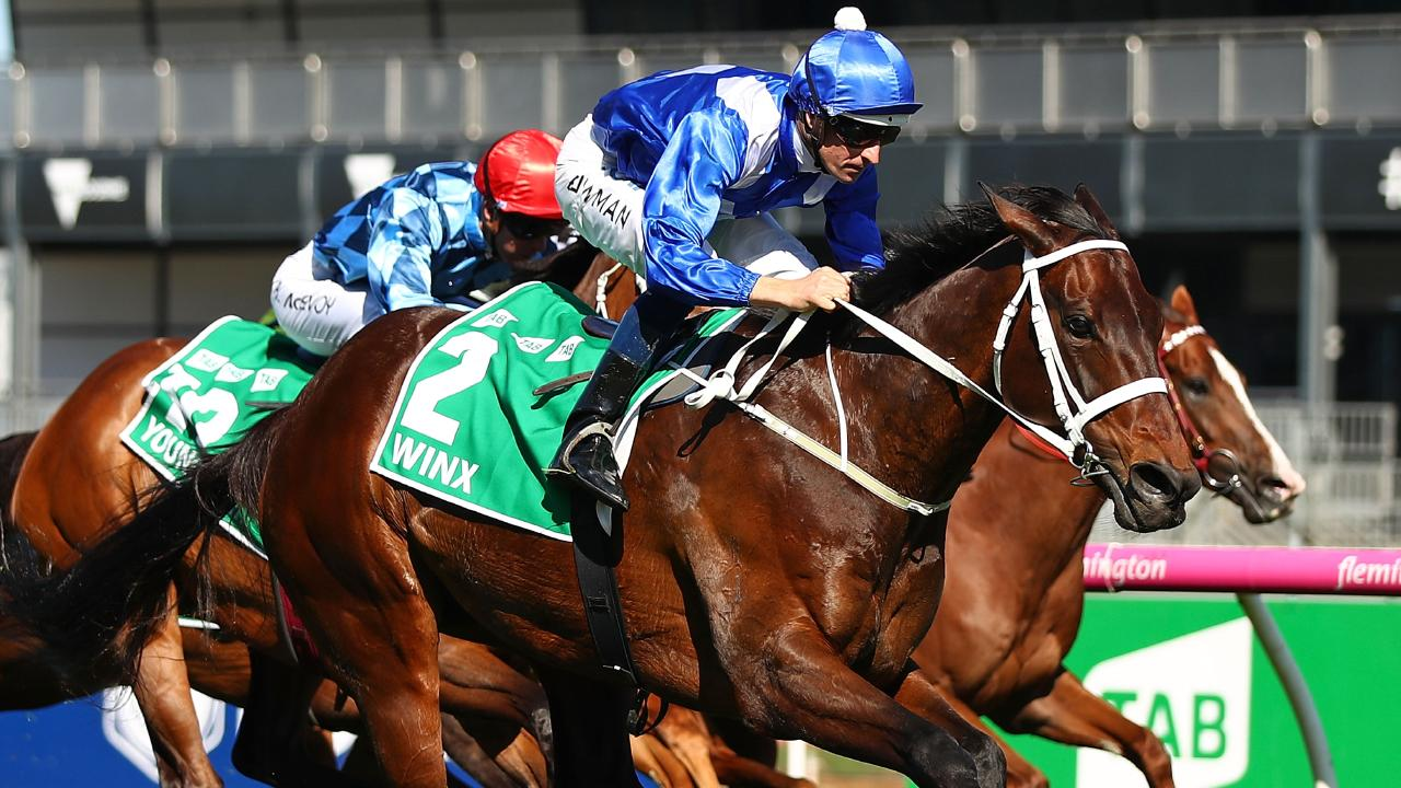 Hugh Bowman riding Winx during the Turnbull Stakes in October. Picture: Getty