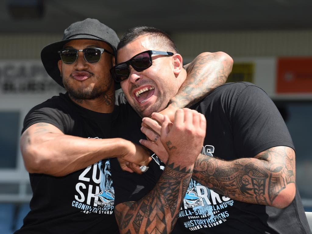 Ben Barba (left) with Sharks teammate Andrew Fifita at a fan day after the 2016 grand final