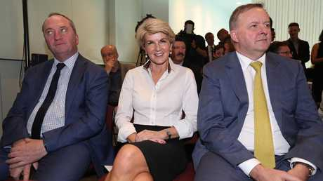 Well, this is awkward. Barnaby Joyce, Julie Bishop and Anthony Albanese at Former PM Kevin Rudd's launch of his second political memoir, The PM Years. Picture: Kym Smith
