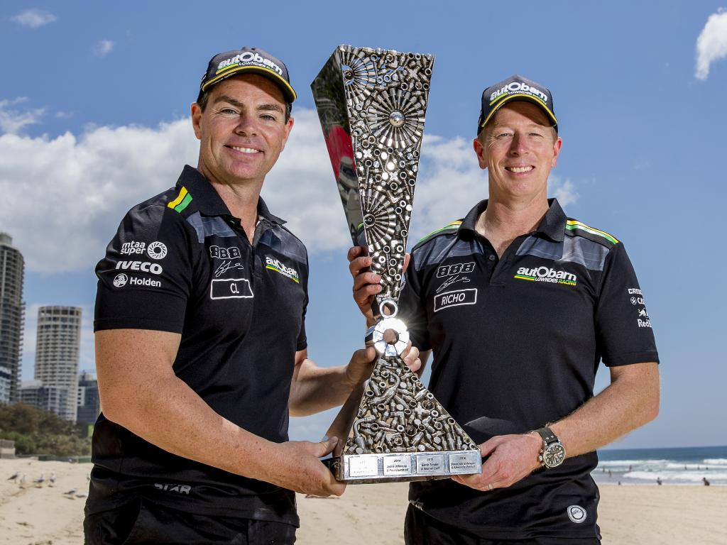 Craig Lowndes and Steven Richards with the Enduro Cup trophy. Picture: Jerad Williams
