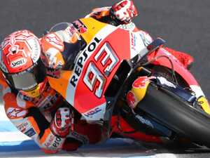 Marquez sets fastest time as wind causes havoc