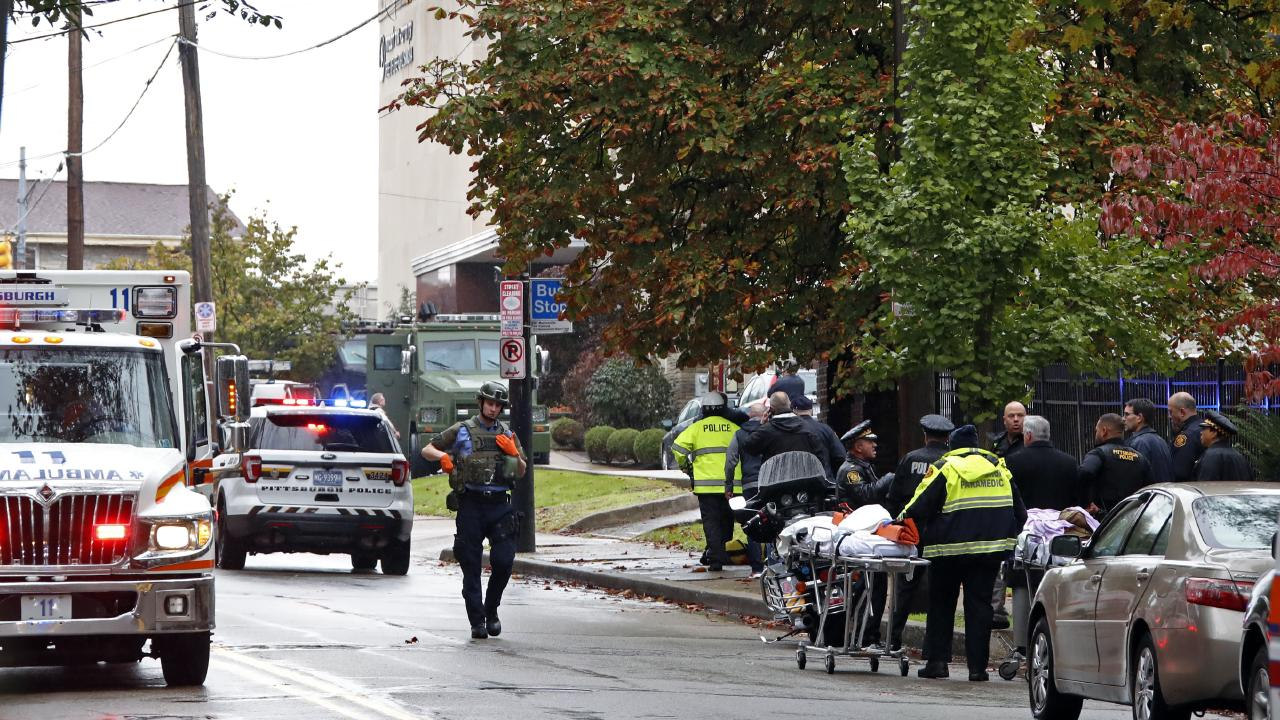 First responders surround the Tree of Life Synagogue in Pittsburgh after the mass shooting. Picture: AP/Gene J. Puskar