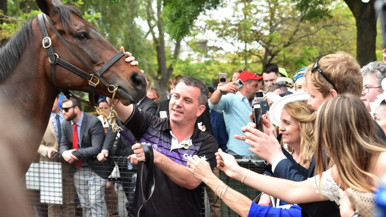 Fans line up to get close to Winx at Moonee Valley. Picture: Jay Town