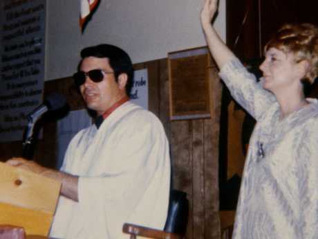 Jim Jones and wife, Marceline in the US before the fateful move to Guyana, during.