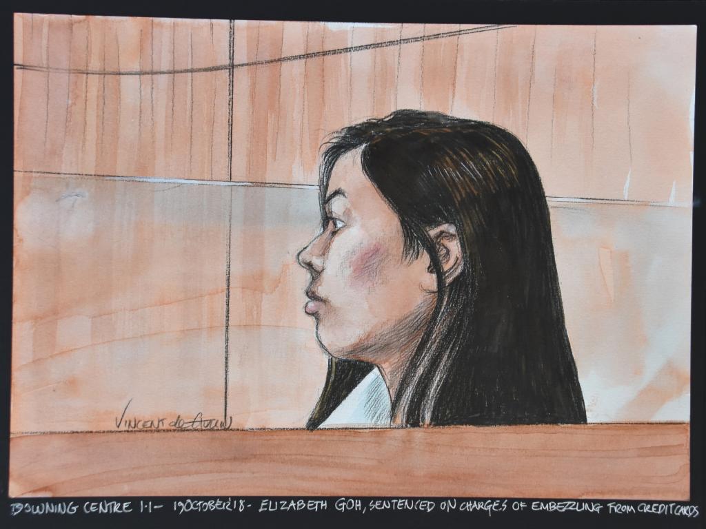 A courtroom sketch of Elizabeth Goh by Vincent de Gouw.