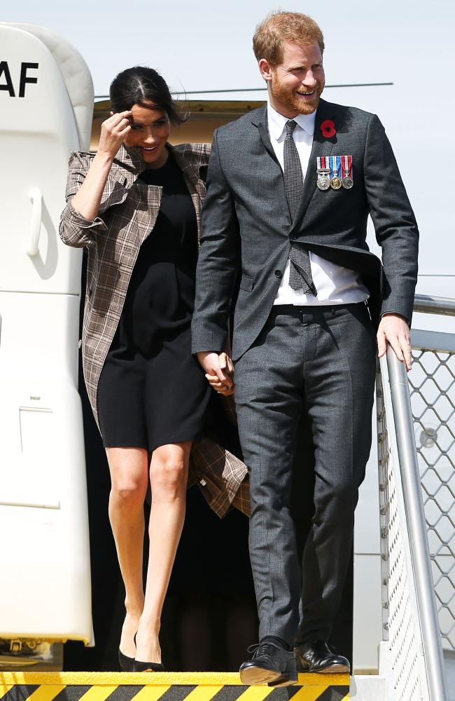 The Duke and Duchess of Sussex touch down in Wellington, New Zealand. Picture: Hagen Hopkins