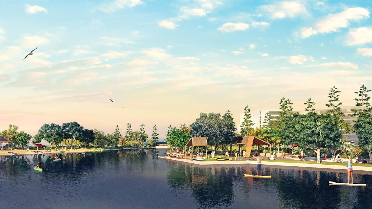 An artist's impression of Stockland's $192 million Bokarina Beach lake-side development. Picture: Supplied