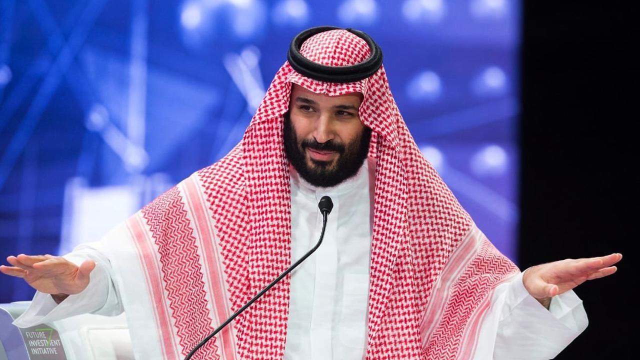 Saudi Crown Prince Mohammed bin Salman addresses the Future Investment Initiative conference in Riyadh, Saudi Arabia, on Wednesday. Picture: Saudi Press Agency via AP