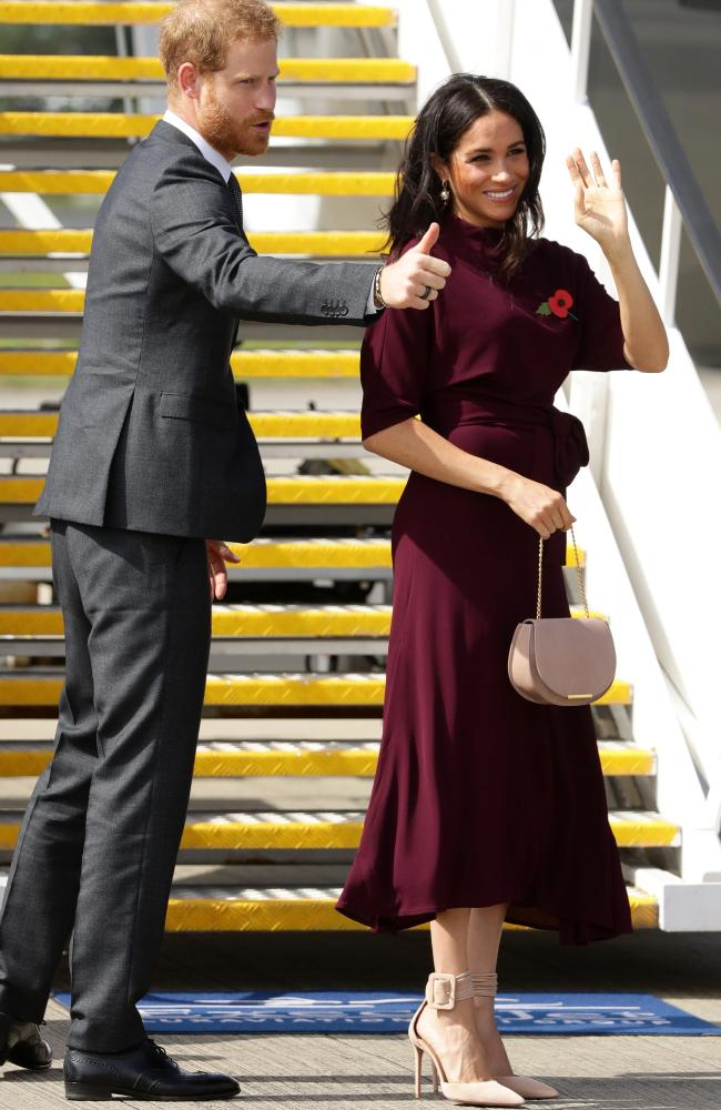 Meghan and Harry wave goodbye to Australia. Picture: Matrix