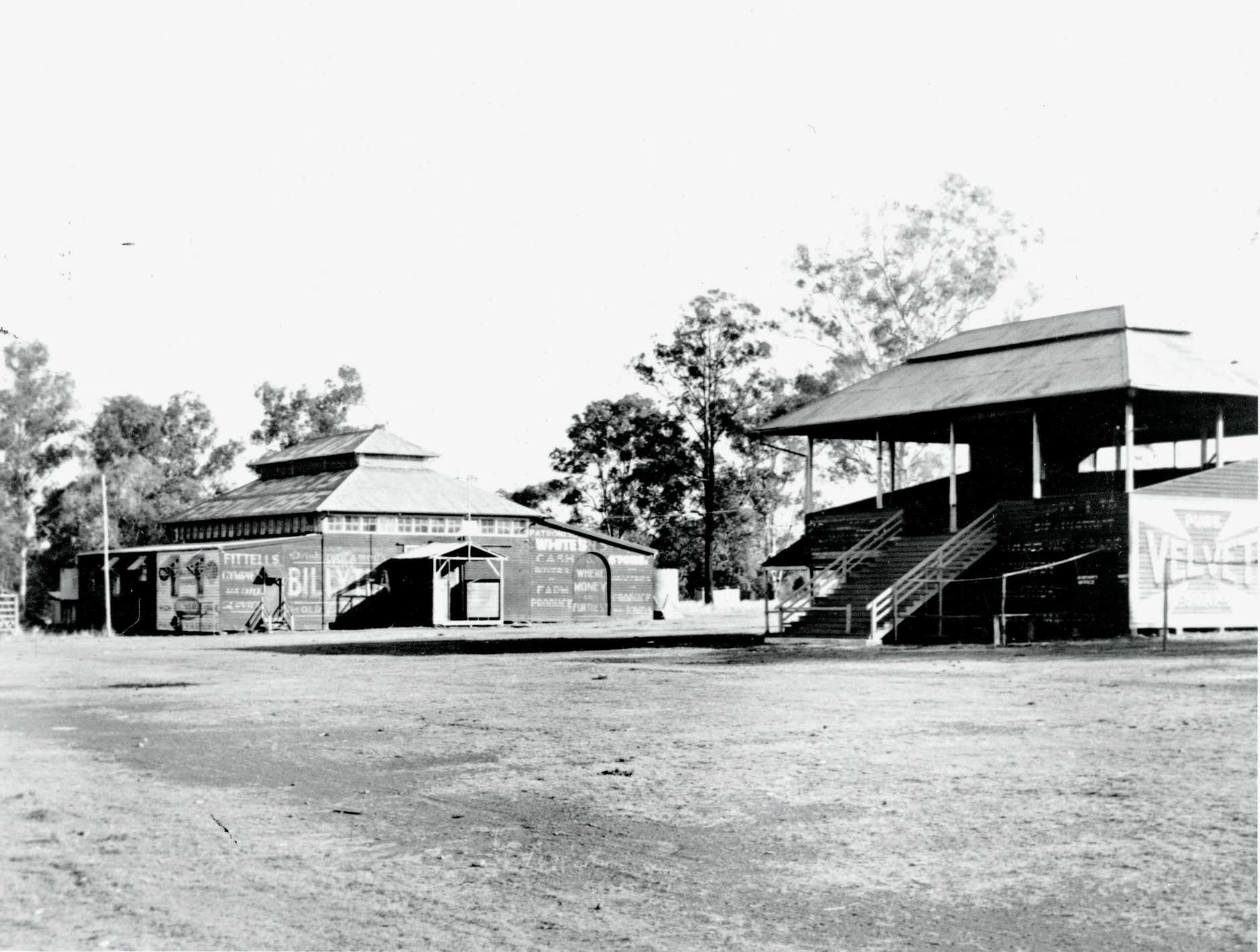 Undated photo of the showgrounds with pavilion and grandstand. Attribution: Gympie Regional Libraries