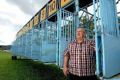 Bernie Quinn at the Tweed River Jockey Club barrier stalls.