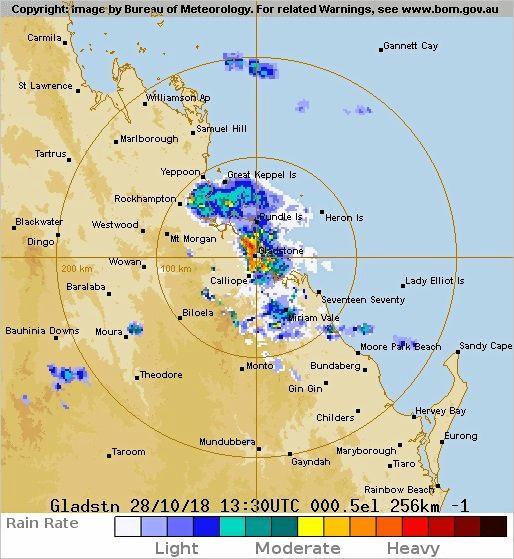 Gladstone weather radar at midnight last night.