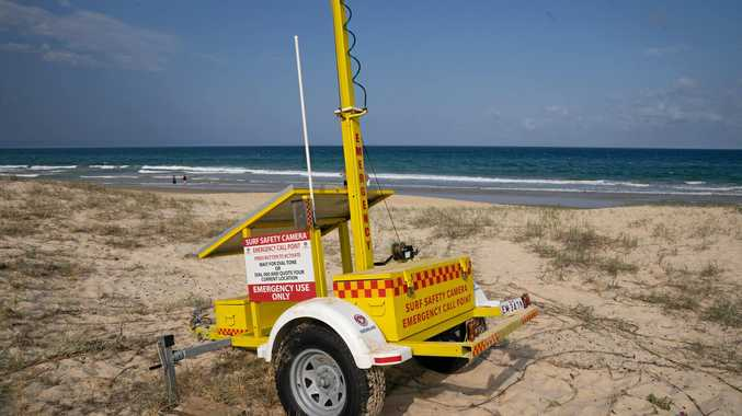 A LIFESAVING emergency beacon and trailer, put in place after two drowning deaths in Coolum Beach, has been damaged and had it's monitoring camera stolen.