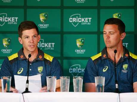 Test Captain Tim Paine and Josh Hazlewood were left to defend the Aussie cricket team.