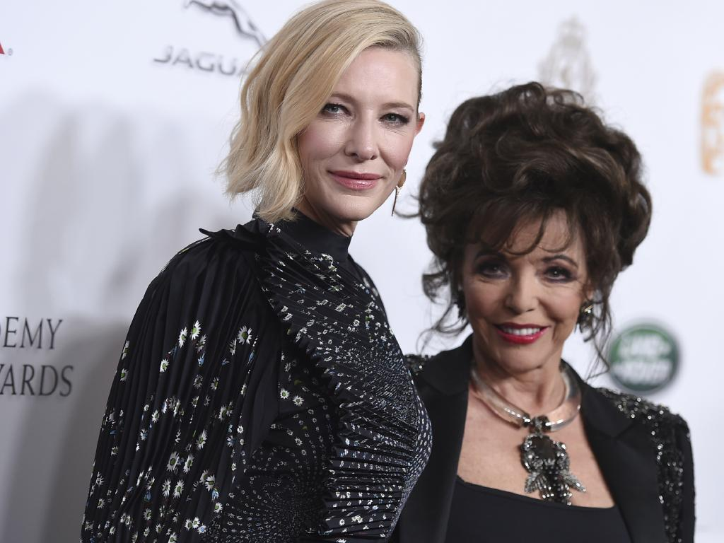 "Cate Blanchett, left, and Joan Collins arrive awards. The Aussie also spoke about the need for both sides to ""embrace"" each other's differences. Picture: AP"