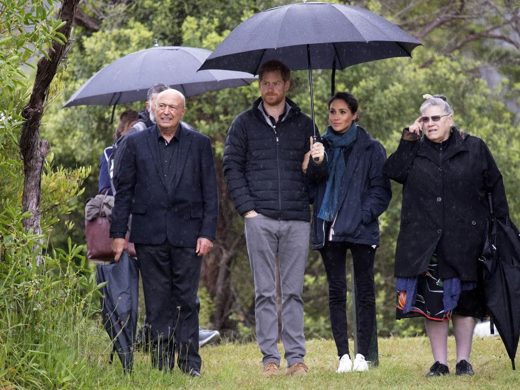 The royal pair go casual during a rainy visit to the  Abel Tasman National Park. Picture: AP