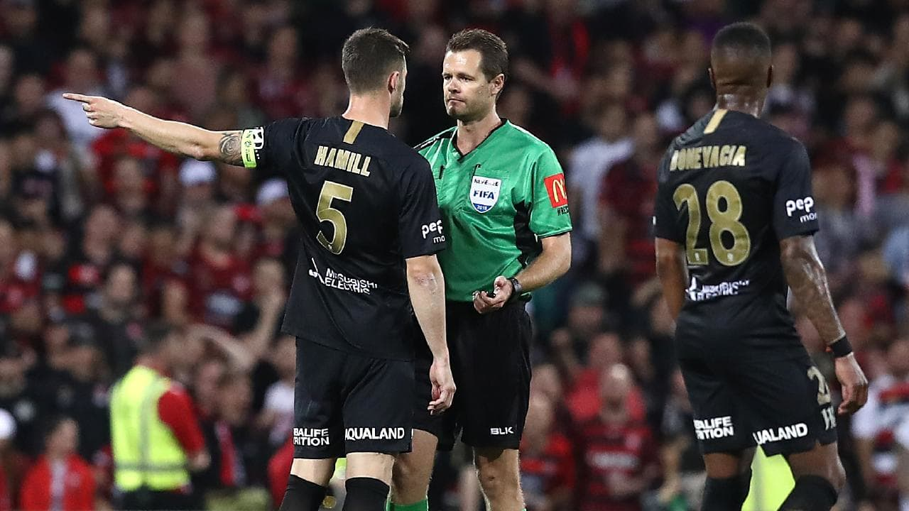 Brendan Hamill gets some clarification from the ref after another controversial derby.