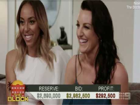 A profitable result for Bianca Chatfield and Carla Dziwoki. Picture: The Block/Nine Network