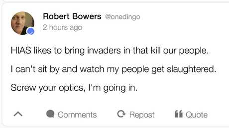 A status posted by shooting suspect Robert Bowers. HIAS, mentioned in the posting, is a non-profit group that helps refugees around the world find safety and freedom. Picture: AP