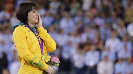 Anna Meares shows her emotion during the medal presentation at the London Olympics in 2012.