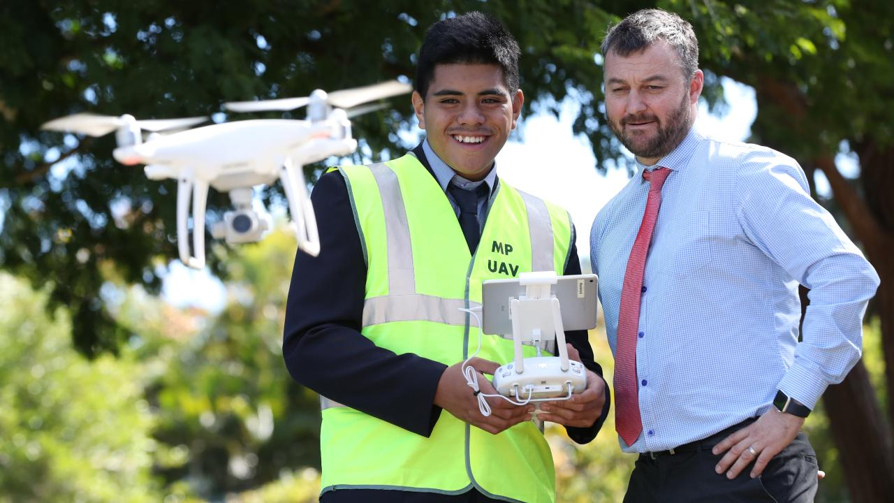 Mabel Park State High School is known for its innovative approach to learning, last year starting a drone piloting course for students. Picture: Peter Wallis