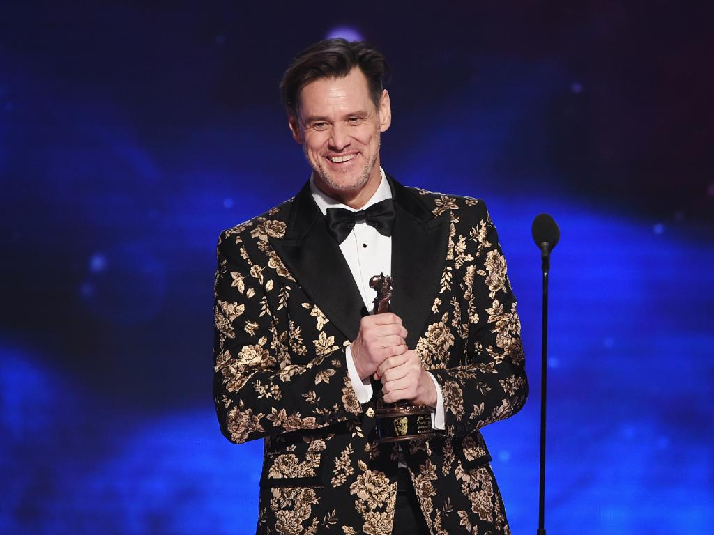 Jim Carrey accepts the Charlie Chaplin Britannia Award for Excellence in Comedy in Los Angeles. Picture: Getty Images