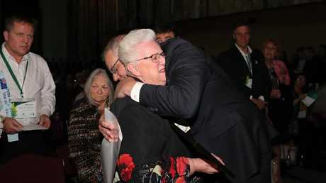 Prime Minister Scott Morrison comforting survivor Pamella Vernon at the National Apology to victims and survivors of institutional child sexual abuse last week. Picture: Kym Smith