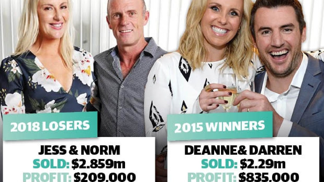 Queenslanders Jess and Norm made a mere fraction of the profit that the show's biggest ever winners, Dee and Darren, did — despite selling for $569,000 more.