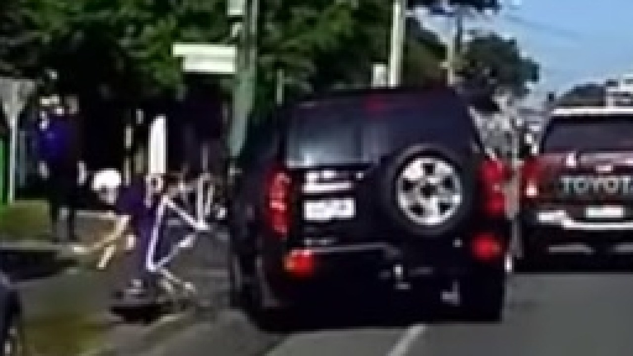 The moment the 4WD hits an innocent cyclist on a suburban street. Picture: YouTube