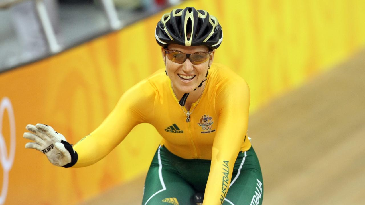 Anna Meares waves to the crowd at the 2008 Beijing Olympics.