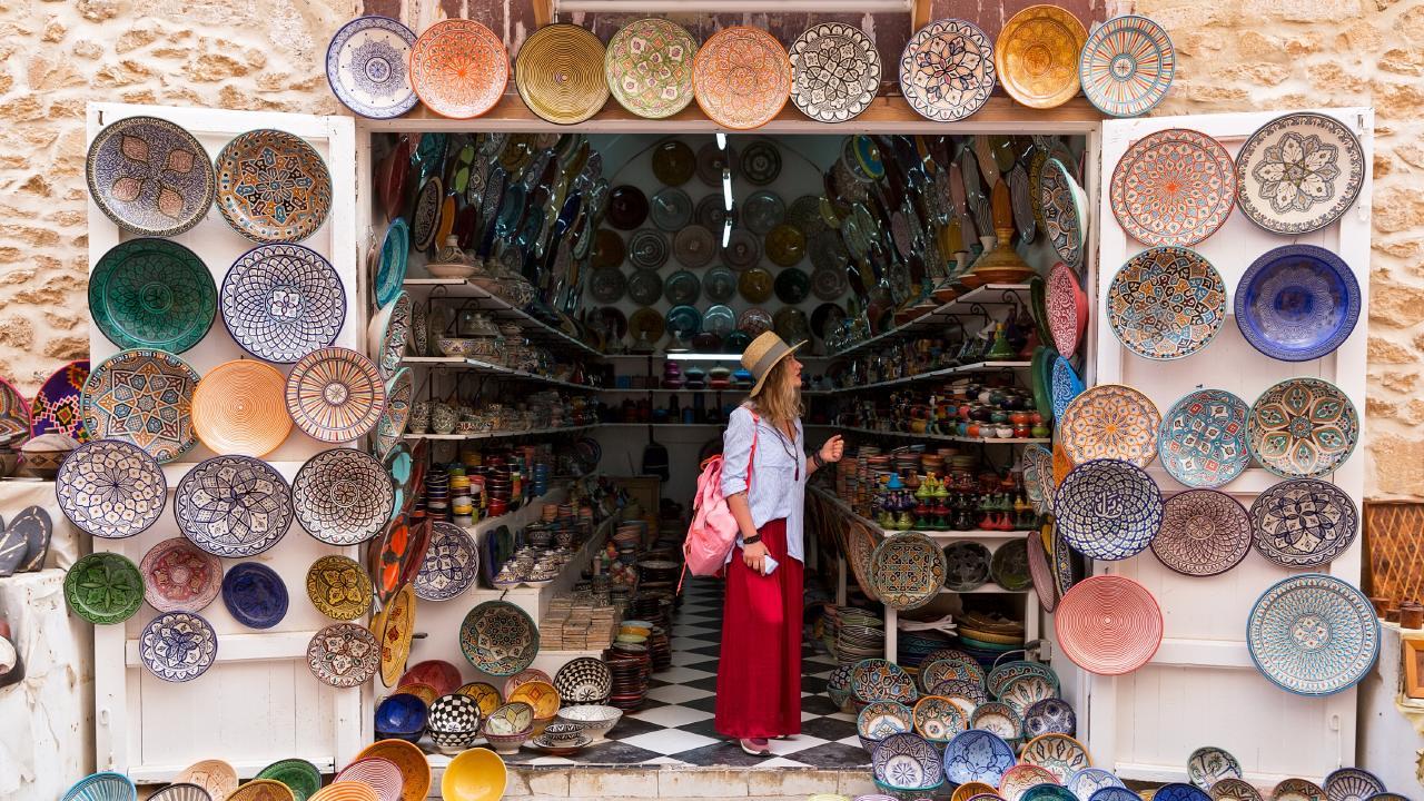 Shopping in Essaouira, Morocco.